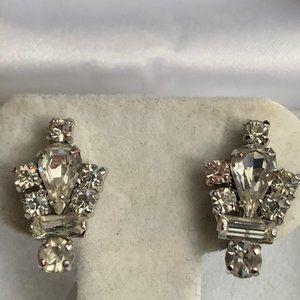 Silver rhinestone Jay Flex screw back earrings
